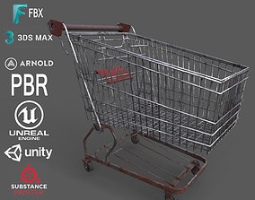 Old Rusty Metal Shopping Cart 3D model