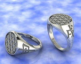 Ring amulet Flower of Life 3D print model