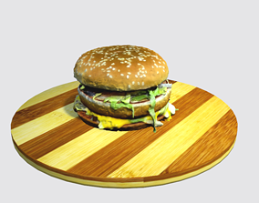 Burger with beef and cheese 3D asset
