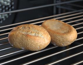 3D asset Schnitt Bread Roll Photoscan