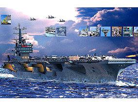 USS Ronald Reagan Aircraft Carrier Cutaway CVN76 3D
