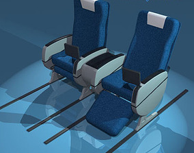 3D model Plane train seats business class