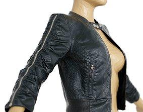 3D model Jacket Black Leather Zipper Sleeves Clothing 1