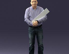 Man holding sign 0621 3D print model