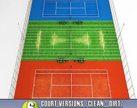 Multi tennis court stadium arena pack 3D model