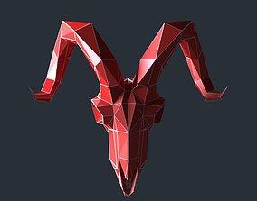 game-ready goat skul lowpoly 3D print model