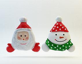 3D model Santa and Snowman decoration