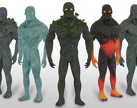 3D asset Low Poly Elemental Golem Character Pack With PBR