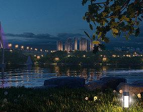 Riverside night scene 01 3D