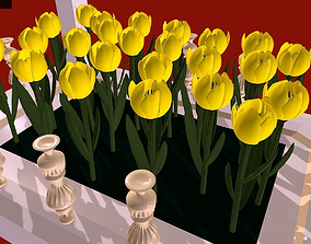 3D model Yellow Tulips in a flowerbed - I love you