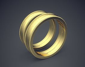 Classic Golden Wedding Rings With 3D printable model 1