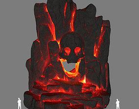 3D asset low-poly lava skull cave
