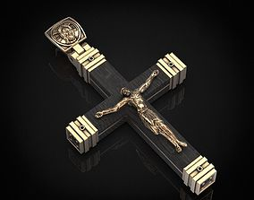 3D printable model Stylish cross with wooden inserts 444
