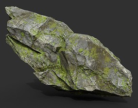 3D model Low poly Mossy Rock Formation 03 190416
