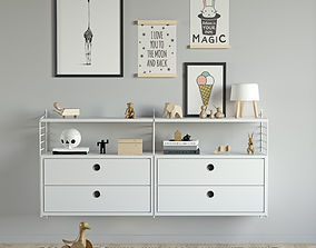 Children chest of drawers String system 3D