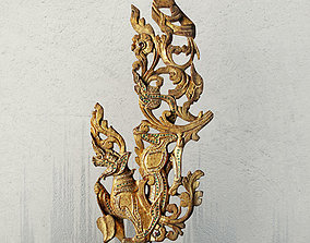 Burmese Architectural Lion Fragment 3D