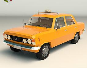 Low Poly Taxi Cab 04 3D asset