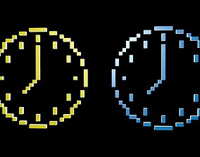 3D asset Clock symbols voxel