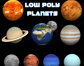 3D model realtime Low Poly Planets