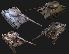 Soviet T-34 WWII Tank 3D asset low-poly