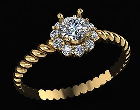 rings silver 3D printable model Diamond ring