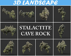 3D asset Low poly Stalactite Cave Rock Modular Pack 200215