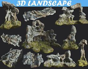 3D model Low poly Cave Mossy Rock Modular Pack cvc