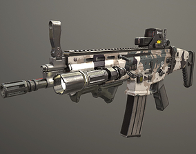 FN SCAR L with attachments 3D asset