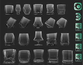 21 Whiskey Alcohol Glass with drink Set Pack 3D model 1