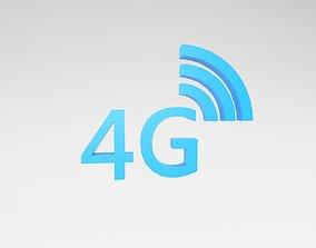 3D asset Mobile Signal Symbol 4G v1 003