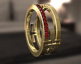 3D printable model Cross ring with diamonds