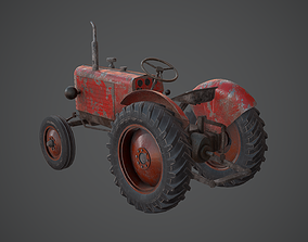 3D model OLD TRACTOR PBR GAMEREADY LOWPOLY