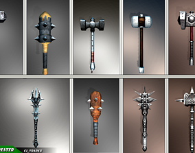 Fantasy Mace - Hammer Collection Pack Low-Poly 3D Model