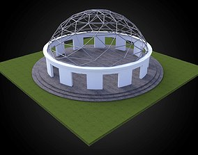 Dome w openings and triangulated wire frame 3D model