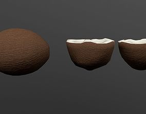 3D asset game-ready Coconut whole and half