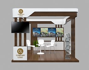 Booth Minimalis Brown 3x3 3D model
