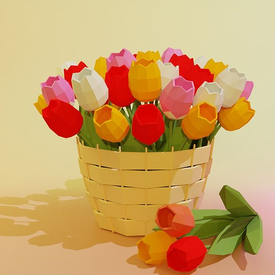 Basket with tulips