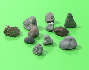 11 low-poly stones 3D asset VR / AR ready