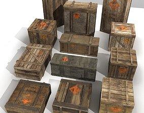 3D asset realtime Explosive crates PBR