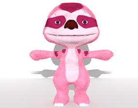 3D asset Sloth female Pink