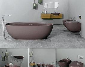 Bathrom furniture set gold 3D