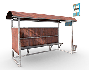 busstop 3D asset game-ready Bus stop