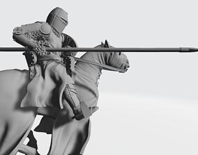 Medieval crusader knight charging 3D printable model