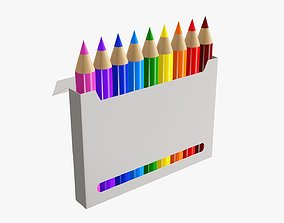 3D Color pencils in box with window