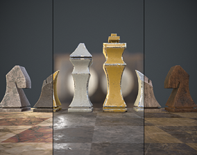 Three chess sets with a chessboard and a clock 3D model