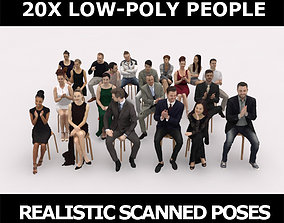 3D model 20x LOW POLY CASUAL ELEGANT SITTING PEOPLE CROWD