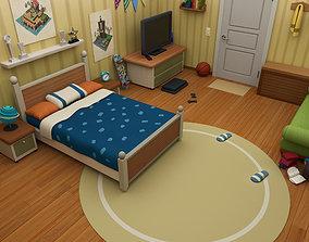 cartoon room bedroom 3D