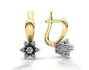 MGold038 Diamond Earrings 3dmodel 3D print