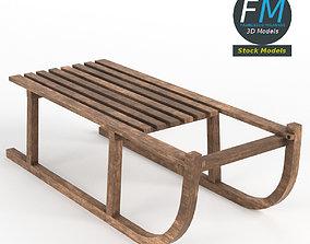 3D model Vintage wooden sled
