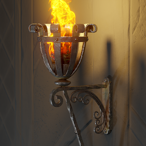 Medieval Iron Wall Torch